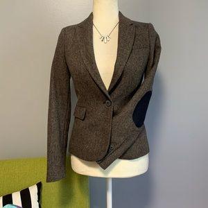Zara Wool Tweed Elbow Patch Blazer Jacket